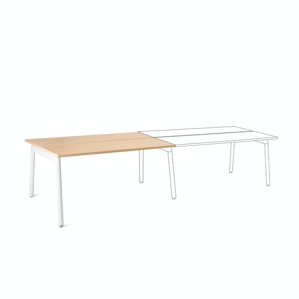 "Series A Double Desk Add On, Natural Oak, 57"", White Legs,Natural Oak,hi-res"