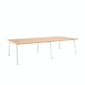 "Series A Double Desk Add On, Natural Oak, 57"", White Legs"