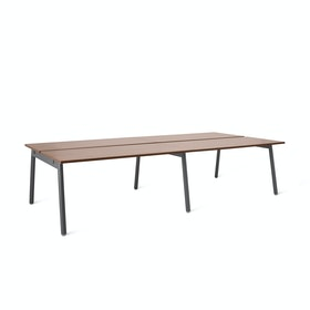 "Series A Double Desk Add On, Walnut, 57"", Charcoal Legs"