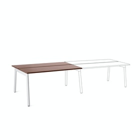 "Series A Double Desk Add On, Walnut, 57"", White Legs"