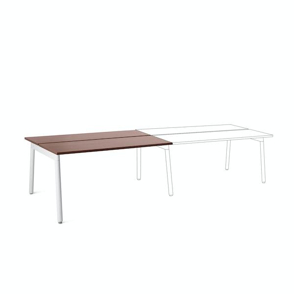 "Series A Double Desk Add On, Walnut, 57"", White Legs,Walnut,hi-res"