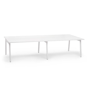 "Series A Double Desk Add On, White, 57"", White Legs"
