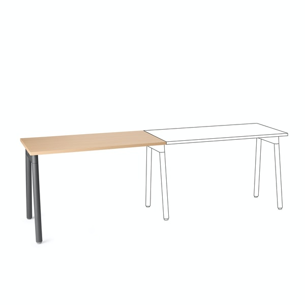 "Series A Single Desk Add On, Natural Oak, 47"", Charcoal Legs,Natural Oak,hi-res"