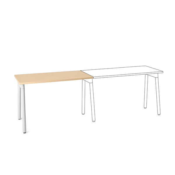 "Series A Single Desk Add On, Natural Oak, 47"", White Legs,Natural Oak,hi-res"