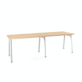 "Series A Single Desk Add On, Natural Oak, 47"", White Legs"