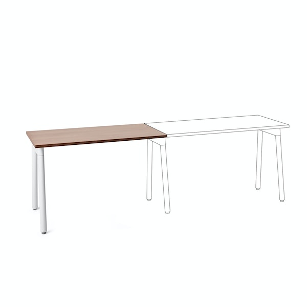 "Series A Single Desk Add On, Walnut, 47"", White Legs,Walnut,hi-res"