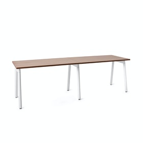 "Series A Single Desk Add On, Walnut, 47"", White Legs"