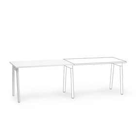 "Series A Single Desk Add On, White, 47"", White Legs"