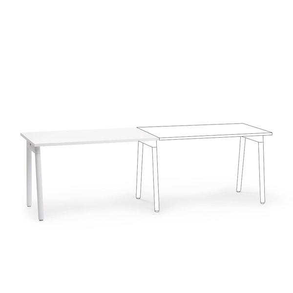 "Series A Single Desk Add On, White, 47"", White Legs,White,hi-res"