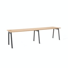 "Series A Single Desk Add On, Natural Oak, 57"", Charcoal Legs"
