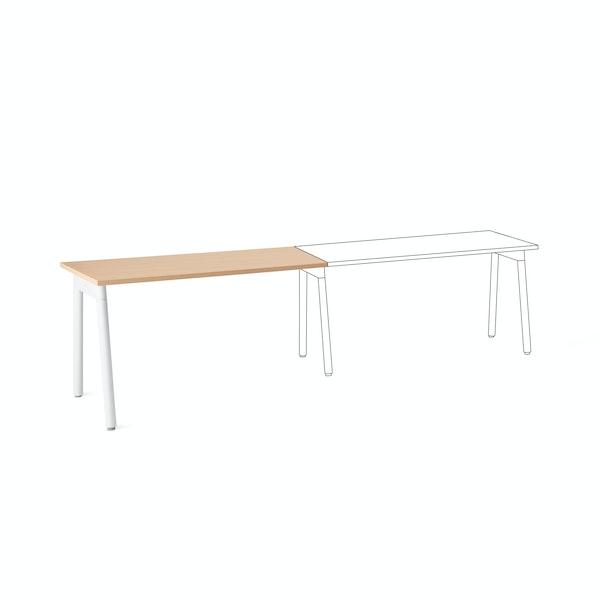 "Series A Single Desk Add On, Natural Oak, 57"", White Legs,Natural Oak,hi-res"