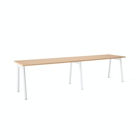 "Series A Single Desk Add On, Natural Oak, 57"", White Legs"