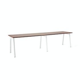 """Series A Single Desk Add On, Walnut, 57"""", White Legs"""
