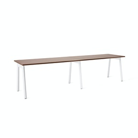 "Series A Single Desk Add On, Walnut, 57"", White Legs"