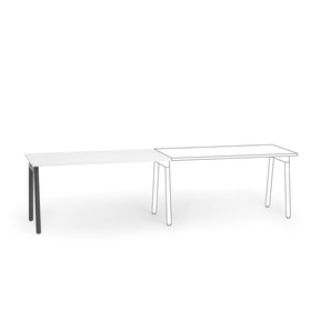 """Series A Single Desk Add On, White, 57"""",  Charcoal Legs"""