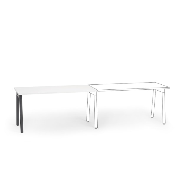 """Series A Single Desk Add On, White, 57"""",  Charcoal Legs,White,hi-res"""