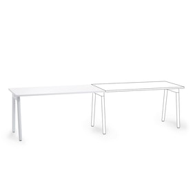 "Series A Single Desk Add On, White, 57"", White Legs"