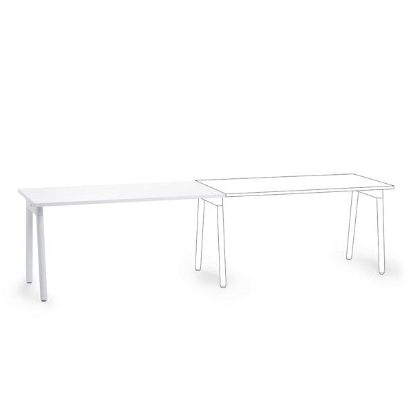 "Series A Single Desk Add On, White, 57"", White Legs,White,hi-res"