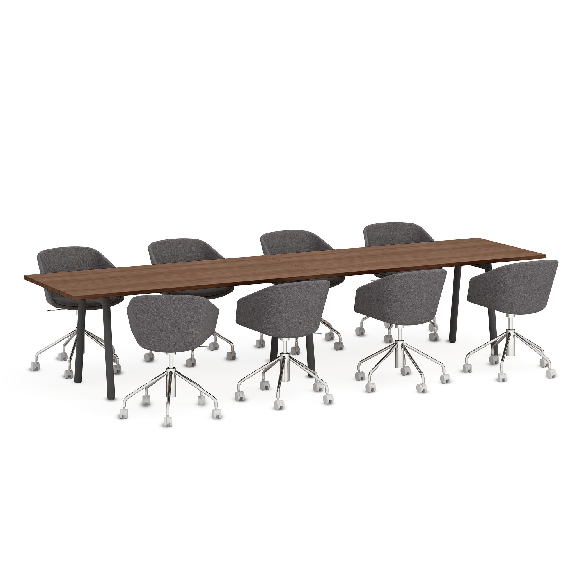 Series A Table X Walnut Charcoal Modern Office Furniture - 144 conference table