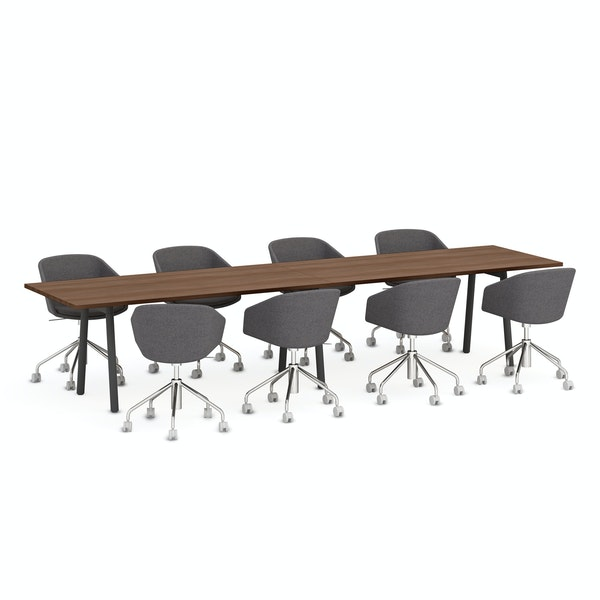 """Series A Conference Table, Walnut, 144x36"""", Charcoal Legs,Walnut,hi-res"""