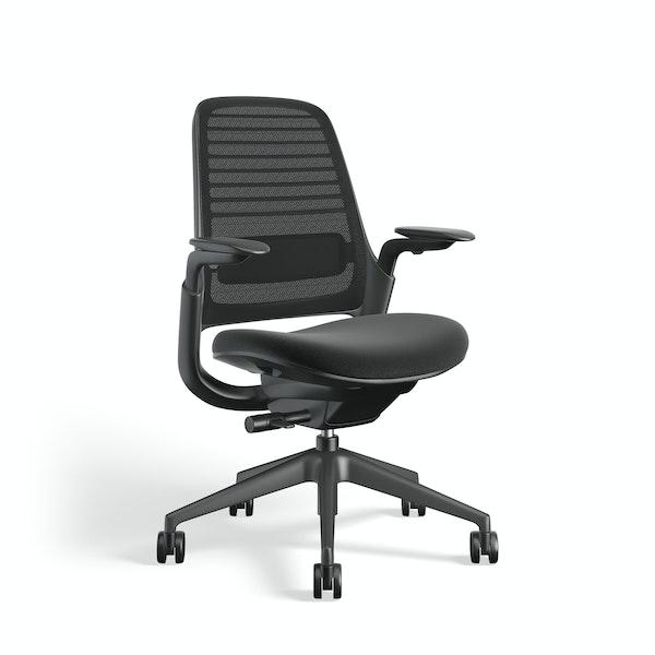 Black Steelcase Series 1 Chair, Black Frame,Black,hi-res