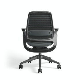 Black Steelcase Series 1 Chair, Black Frame