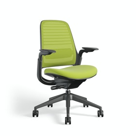 Lime Green Steelcase Series 1 Chair, Black Frame