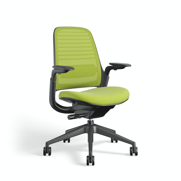 Lime Green Steelcase Series 1 Chair, Black Frame,Lime Green,hi-res