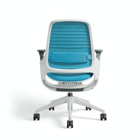 Pool Blue Steelcase Series 1 Chair, White Frame