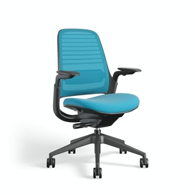 Pool Blue Steelcase Series 1 Chair, Black Frame