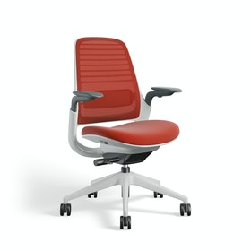 Red Steelcase Series 1 Chair, White Frame