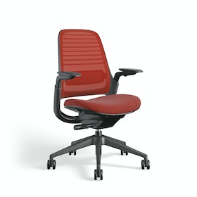 Red Steelcase Series 1 Chair, Black Frame