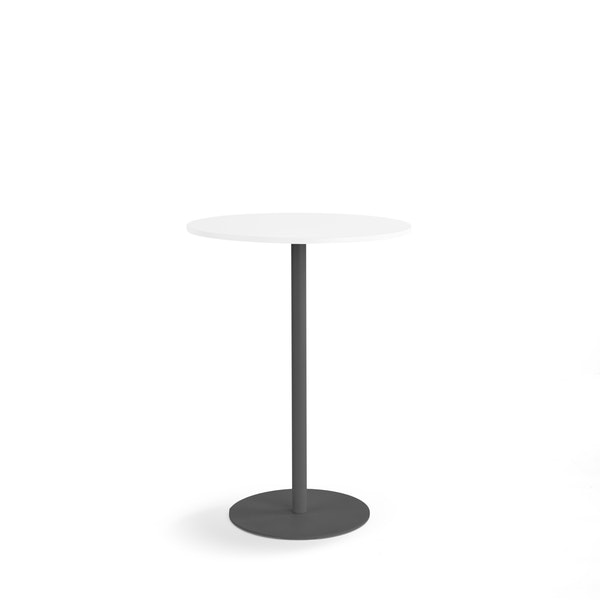 White Tucker Standing Table with Charcoal Base,White,hi-res