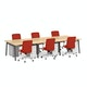 "Series A Double Desk for 6, Natural Oak, 47"", Charcoal Legs,Natural Oak,hi-res"