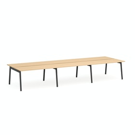 Series A Double Desk for 6, Charcoal Legs