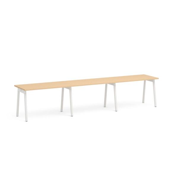 "Series A Single Desk for 3, Natural Oak, 47"", White Legs,Natural Oak,hi-res"