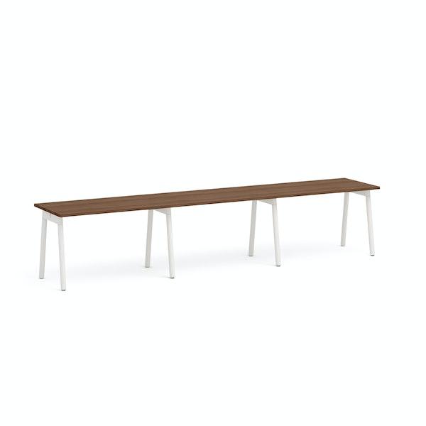 "Series A Single Desk for 3, Walnut, 47"", White Legs,Walnut,hi-res"
