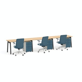Series A Single Desk for 3, Charcoal Legs