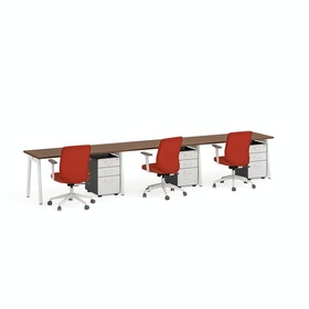 Series A Single Desk For 3, White Legs