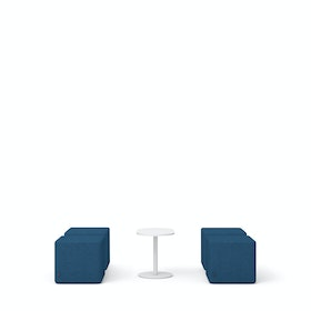 Dark Blue Block Party Lounge Ottomans + Tucker Side Table Set