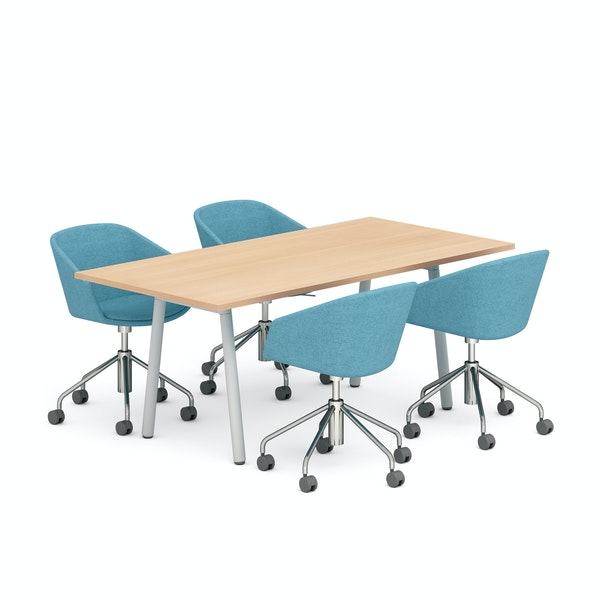 "Natural Oak Series A 72"" Conference Table, Blue Pitch Meeting Chairs,Natural Oak,hi-res"