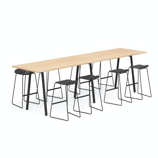 "Natural Oak Series A 144"" Standing Conference Table, Charcoal Upbeat Stools,Natural Oak,hi-res"