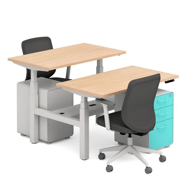 "Natural Oak Series L 47"" Double Desk, Max Task Chair, Aqua Stow File Cabinet,Natural Oak,hi-res"