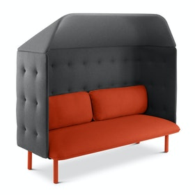 Brick + Dark Gray QT Privacy Lounge Sofa with Canopy