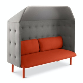 Brick + Gray QT Privacy Lounge Sofa with Canopy