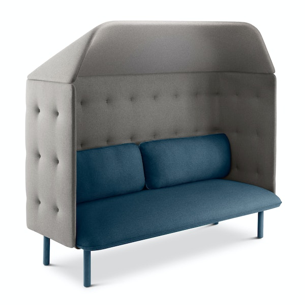 Dark Blue + Gray QT Privacy Lounge Sofa with Canopy,Dark Blue,hi-res