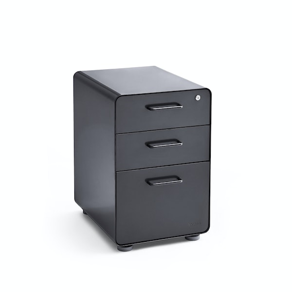 Limited Edition Glossy Charcoal Stow 3-Drawer File Cabinet,,hi-res