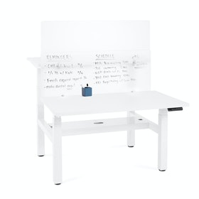 "Frost White Writable Glass Panel, 55 x 17.5"", Face-to-Face"