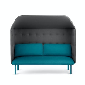 Teal + Dark Gray QT Privacy Lounge Sofa with Canopy
