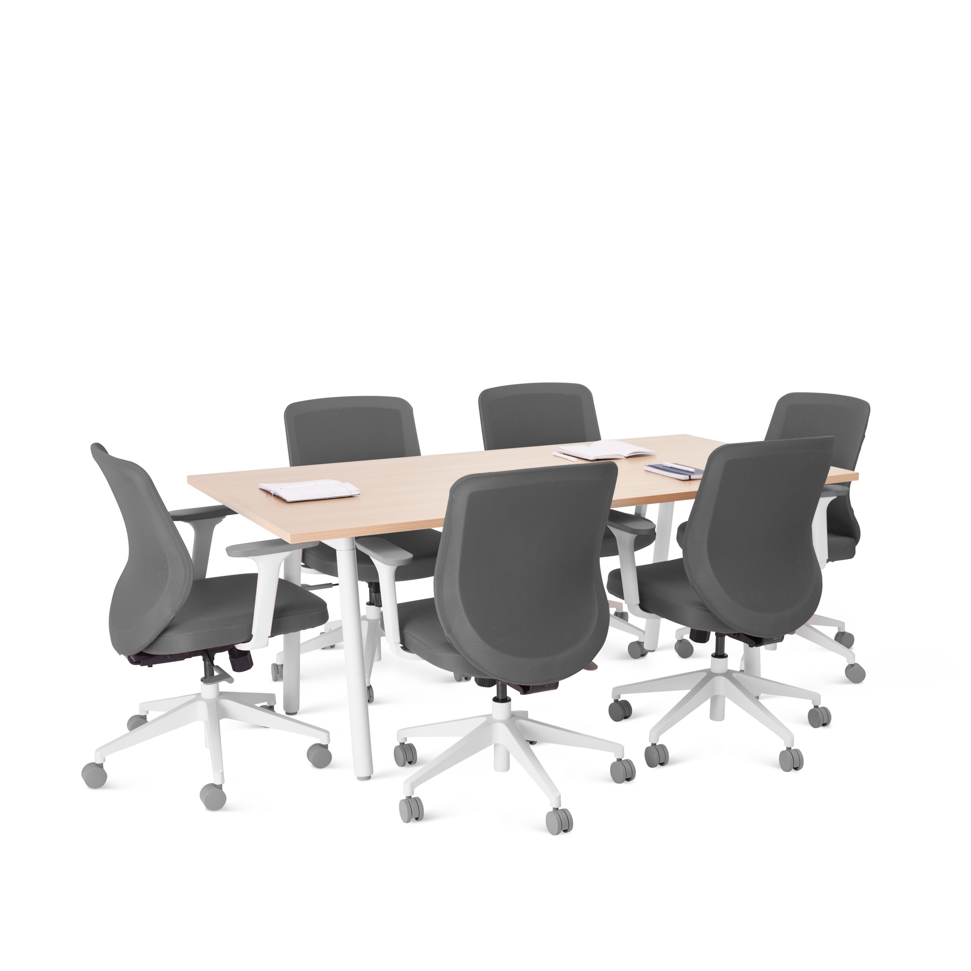 Series A Table 72x36 Natural Oak White Modern Office Furniture Poppin